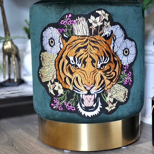 Emerald Green Velvet Footstol with Floral Tiger Head Design
