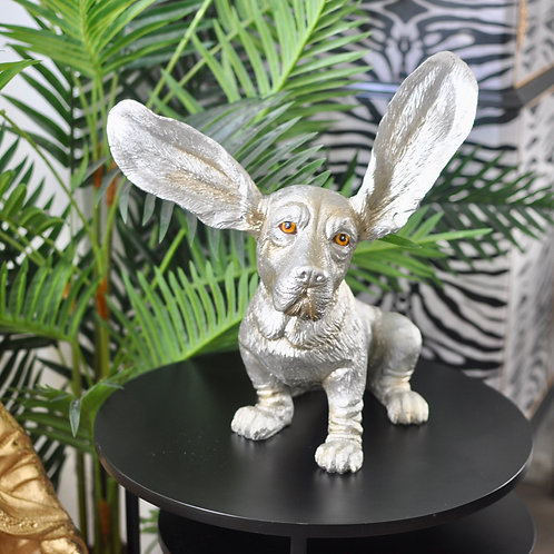 Silver Surprised Basset Hound Decor