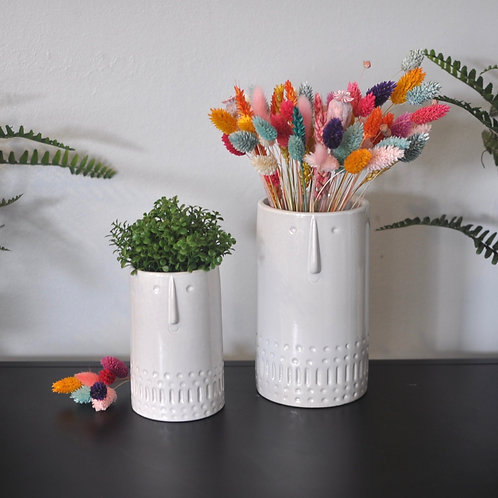 Quirky Mini Cylinder Face Vase