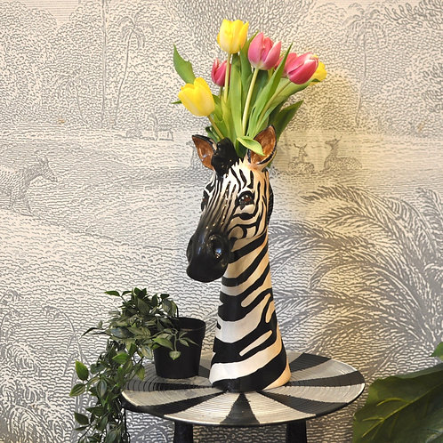Large Quirky Ceramic Zebra Head Tall Vase