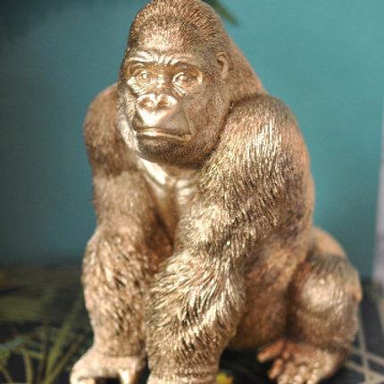 Gold Sitting Gorilla Statue