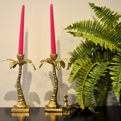 Pair of Hot Pink Dinner Candle Sticks