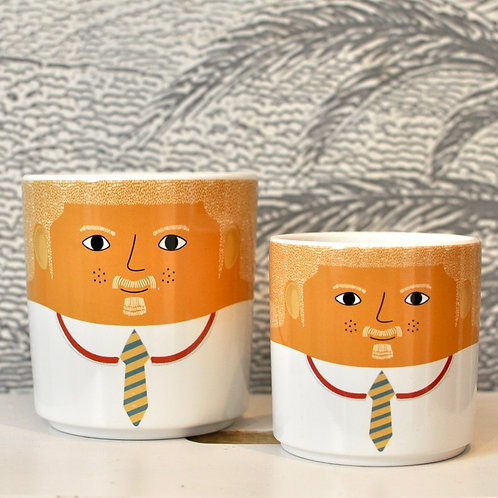 Set of Two Ceramic Donald People Pots
