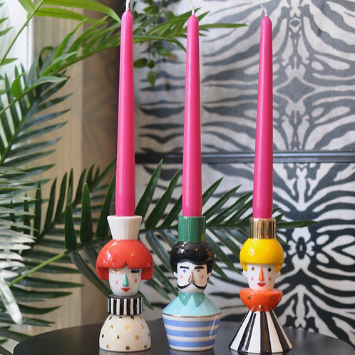 Set of 3 Ceramic Circus People Candle Holders