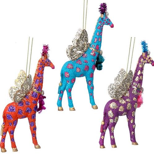 Quirky Fantasy Animal Glitter Giraffe Tree Decoration