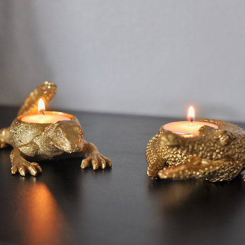 Gold Crocodile and Lizard Tealight Candle Holders