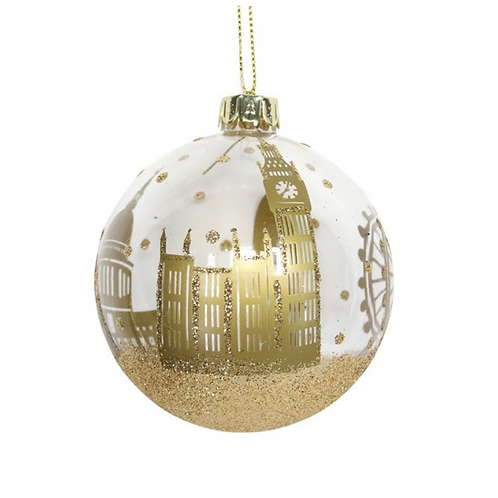 Gold Clear Glass London Scene Christmas Tree Bauble