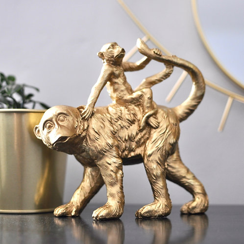 Lovely Gold Monkey Figurine