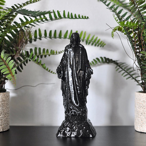 Upcycled Black Jesus Christ Figurine