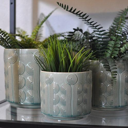 Green Retro Circles Pot Covers
