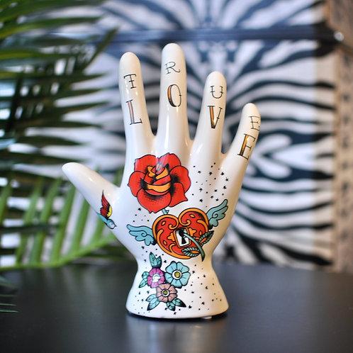 Ceramic Tattoo Palmistry Rose Hand Ornament