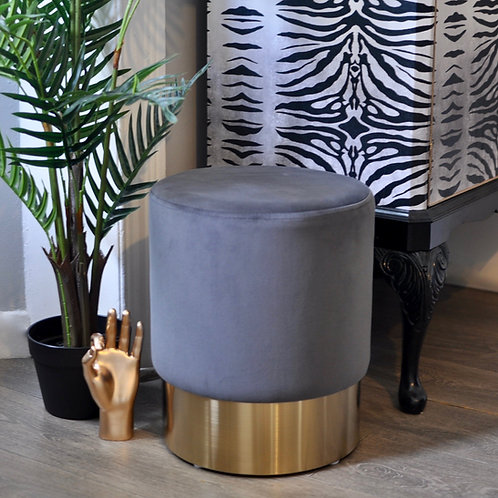 Stunning Grey Velvet Stool with Brass Base
