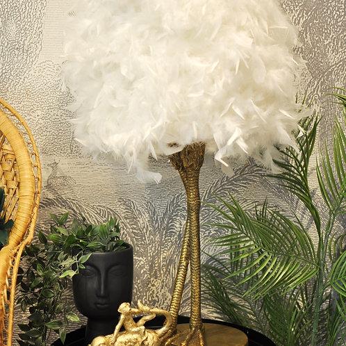 Gold Bird Leg Ruffled Feather Table Lamp