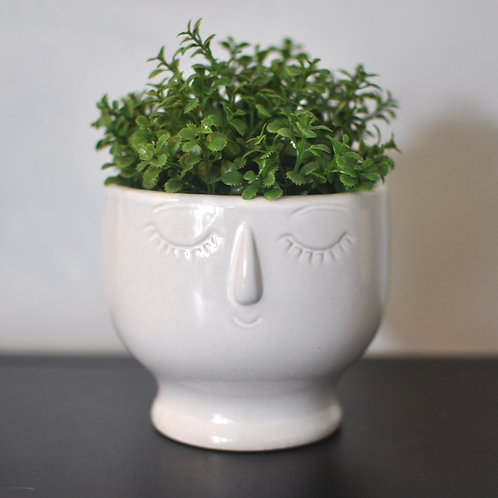 Quirky Small Face White Bowl Vase