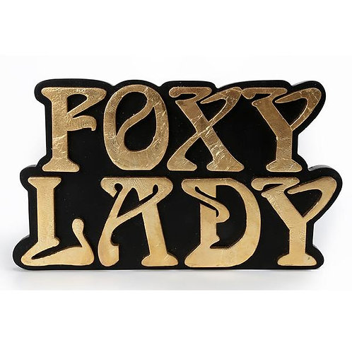 Black and Gold Foxy Lady Wall Sign