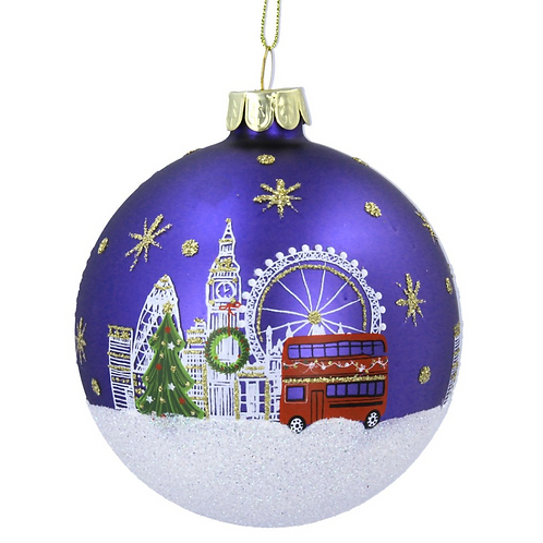 Glass London Scene Christmas Tree Bauble