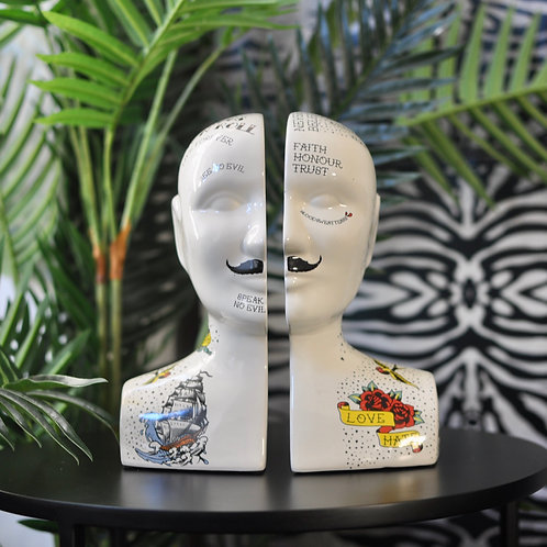 Quirky Split Tattooed Phrenology Head Bookends