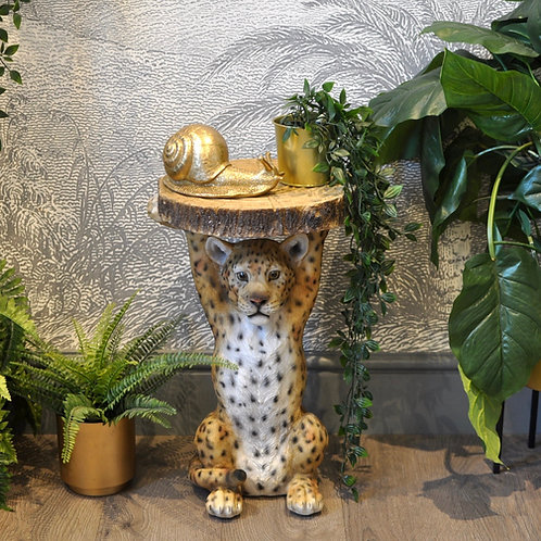 Leopard Side Table, Leopard Holding a Trunk Slice Side Table