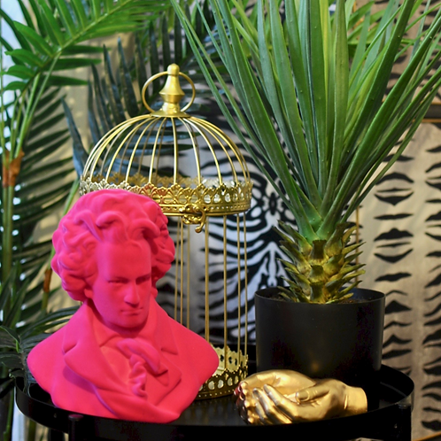 Pink Flocked Beethoven Bust Ornament
