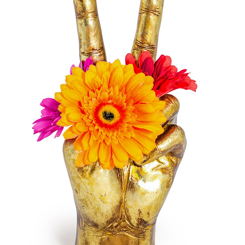Gold Peace Hand Ornament Vase