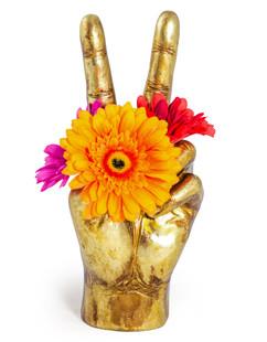 Large Peace Hand Vase Gold