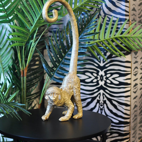 Gold Curly Tail Monkey Figurine
