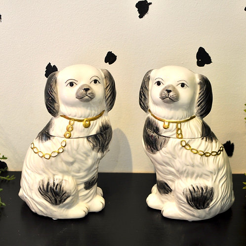 Quirky Pair of Staffordshire Trinket Pot Ornaments