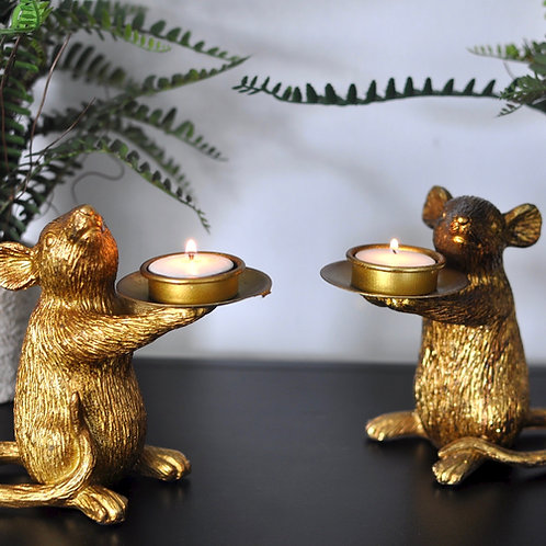 Pair of Gold Mouse Tealight Holders