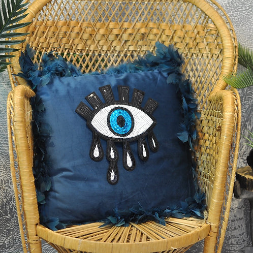 Bohemian Petrol Blue Velvet Eye Cushion