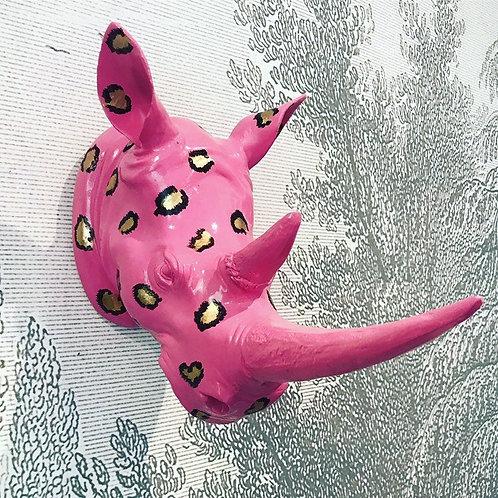 Fab Faux Pink Rhino Head Wall Mount