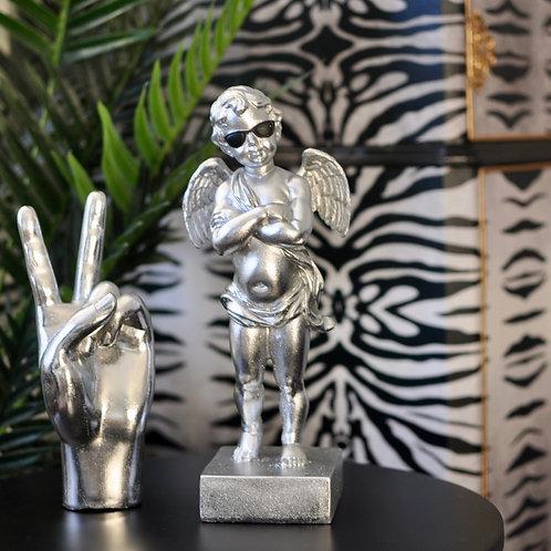 Silver 'Too Cool' Cherub Figure
