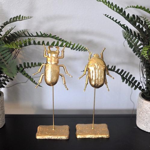 Set of 2 Mini Gold Beetles on Plinth Ornaments