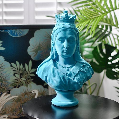 Teal Flocked Queen Victoria Bust