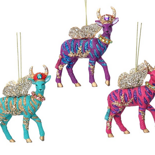 Fantasy Animal Glitter Gazelle Tree Decorations