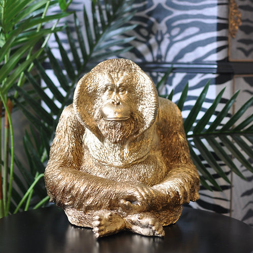 Metallic Gold Orangutan Statue