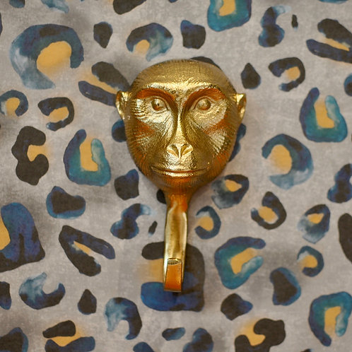 Large Gold Monkey Head Animal Wall Hook
