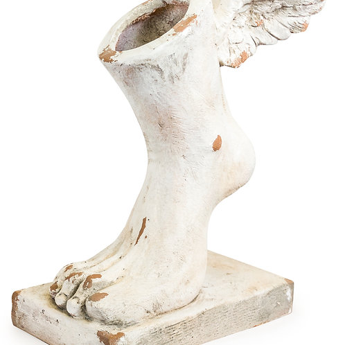 Large Rustic Stone Winged Foot Planter