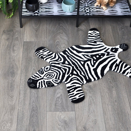 Fabulous Hand Tufted Small Woollen Zebra Rug