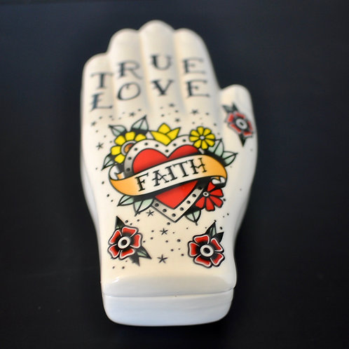 Faith Tattoo Palmistry Hand Trinket Pot