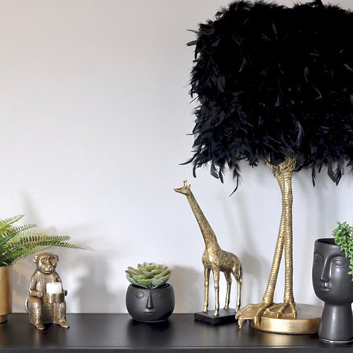 Gold Bird Leg Ruffled Feather Table Lamp