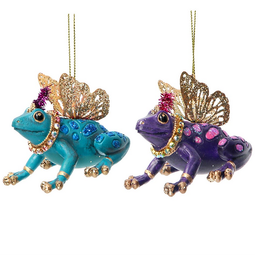 Fantasy Animal Frog Tree Decorations with Glitter Wings