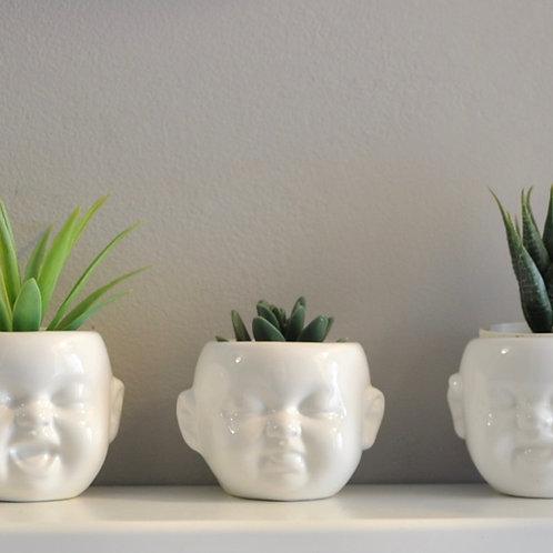 Quirky Set of 3 Mini Baby Head Ceramic White Pots