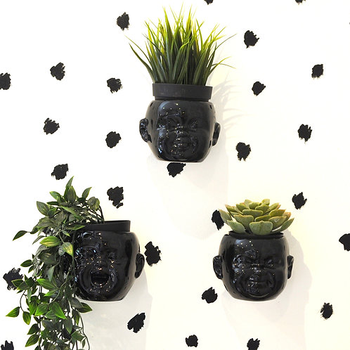 Quirky Set of 3 Baby Head Ceramic Black Plant Pots