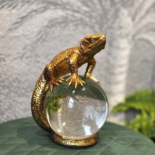 Gold Lizard Crystal Ball Ornament