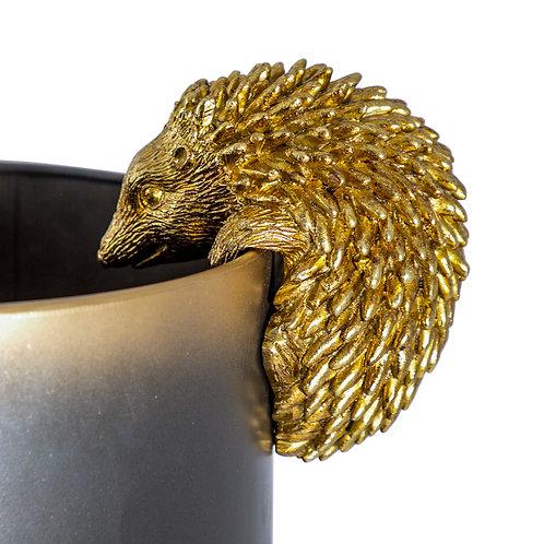 Gold Hedgehog Pothanger Decor