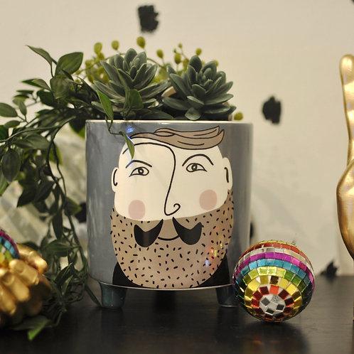 Beard Man Hipster Plant Pot