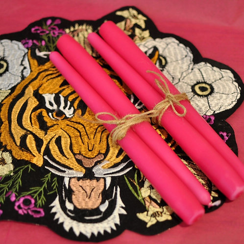 Set of 4 Hot Pink Tapered Candles