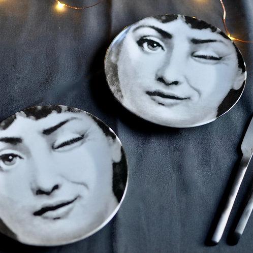 Monochrome Winking Lady Plate