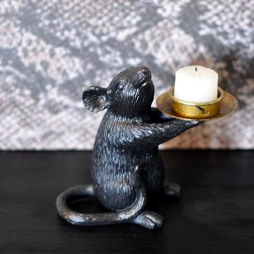 Black Mouse Candle Holder Left, Tea Light Holder