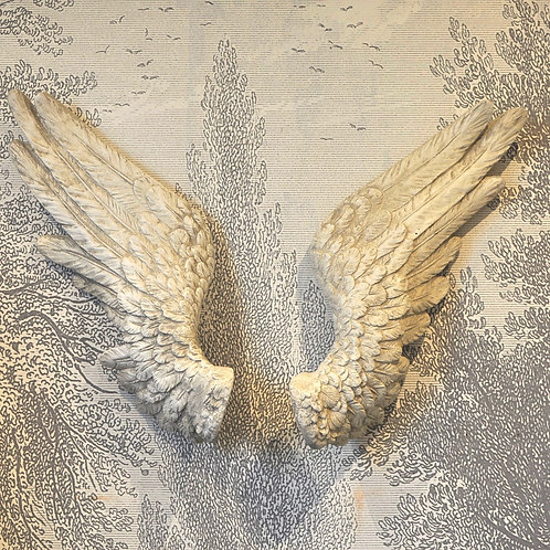 Pair of Antiqued White Wall Angel Wings